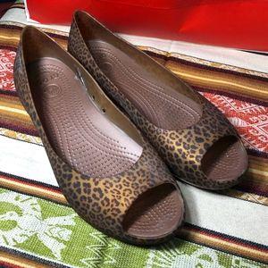 Crocs Leopard peep toe Ballet flats